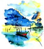 Αλιευτικό σκάφος στη λίμνη ή ποταμός στην αρμονία με τη φύση ελεύθερη απεικόνιση δικαιώματος