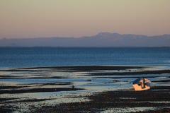 Αλιευτικό σκάφος στο ηλιοβασίλεμα στον κόλπο του SAN Ηγνάτιος Lagoon, Μπάχα Καλιφόρνια, Μεξικό Στοκ Φωτογραφία