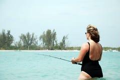 αλιεύοντας γυναίκα Στοκ εικόνες με δικαίωμα ελεύθερης χρήσης