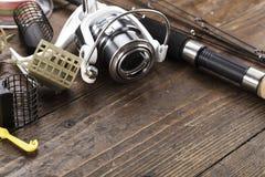 Αλιεύοντας εξοπλισμός και εξαρτήματα Στοκ Εικόνες
