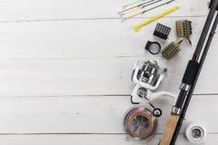 Αλιεύοντας εξοπλισμός και εξαρτήματα Στοκ Εικόνα