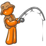 αλιεύοντας πορτοκάλι ατόμων Στοκ Εικόνες