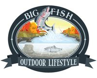 """Αλιεύοντας ποταμός σολομών, υπαίθριος τρόπος ζωής, λογότυπο """"μεγάλων ψαριών """" διανυσματική απεικόνιση"""