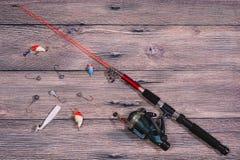 Αλιεύοντας τον εξοπλισμό - περιστροφή, γραμμή, γάντζοι και θέλγητρα στοκ φωτογραφίες με δικαίωμα ελεύθερης χρήσης