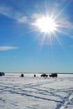 αλιεύοντας χωριό πάγου στοκ εικόνες