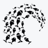 αλιεύστε το σχολείο E Θαλάσσια ζωή επίσης corel σύρετε το διάνυσμα απεικόνισης Δερματοστιξία Στοκ φωτογραφία με δικαίωμα ελεύθερης χρήσης