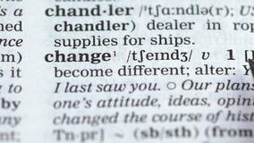 Αλλαγή ορισμού λέξης στο αγγλικό λεξικό, αλλαγή, νέα ζωή απόθεμα βίντεο