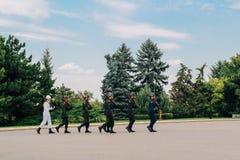 Αλλαγή της φρουράς σε Anitkabir, μαυσωλείο Ataturk στην Άγκυρα, Τουρκία Στοκ Φωτογραφίες