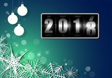 Αλλαγή του έτους στο μετρητή τυμπάνων από το 2017 ως το 2018 με άσπρα snowflakes Κατάλυμα για την κάρτα ή την αφίσα Στοκ φωτογραφία με δικαίωμα ελεύθερης χρήσης