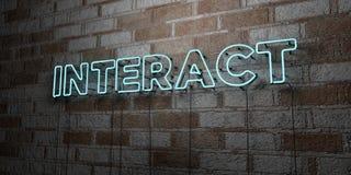 ΑΛΛΗΛΕΠΙΔΡΑΣΤΕ - Καμμένος σημάδι νέου στον τοίχο τοιχοποιιών - τρισδιάστατο δικαίωμα ελεύθερη απεικόνιση αποθεμάτων διανυσματική απεικόνιση