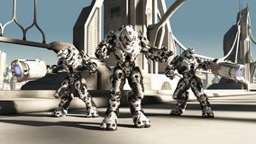 Αλλοδαπή μάχη Droids διανυσματική απεικόνιση
