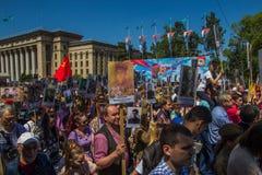 ΑΛΜΆΤΙ, ΚΑΖΑΚΣΤΑΝ - 9 ΜΑΐΟΥ: Αθάνατο σύνταγμα Μάρτιος κατά τη διάρκεια του Β Στοκ φωτογραφία με δικαίωμα ελεύθερης χρήσης