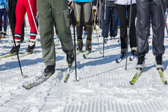 ΑΛΜΆΤΙ, ΚΑΖΑΚΣΤΑΝ - 18 ΦΕΒΡΟΥΑΡΊΟΥ 2017: ερασιτεχνικοί ανταγωνισμοί στην πειθαρχία ανώμαλο να κάνει σκι, με το όνομα Στοκ εικόνες με δικαίωμα ελεύθερης χρήσης