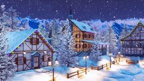 Αλπικός δήμος βουνών στη χειμερινή νύχτα χιονοπτώσεων διανυσματική απεικόνιση