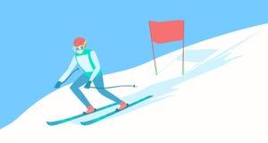 Αλπικός σκιέρ στη διαδρομή σκι Στοκ Εικόνα