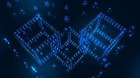 Αλυσίδα φραγμών Crypto νόμισμα Έννοια Blockchain τρισδιάστατος isometric ψηφιακός φραγμός με τον ψηφιακό κώδικα Πρότυπο Cryptocur στοκ εικόνες
