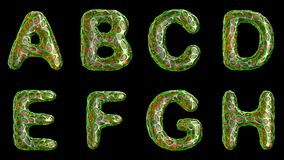 Αλφάβητο από το πλαστικό με τις αφηρημένες τρύπες που απομονώνονται σε ένα μαύρο υπόβαθρο ΈΝΑ Β Γ Δ Ε Φ Γ Χ 4K φιλμ μικρού μήκους