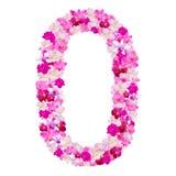 Αλφάβητο αριθμός μηδέν από τα λουλούδια ορχιδεών που απομονώνονται στο λευκό στοκ εικόνες