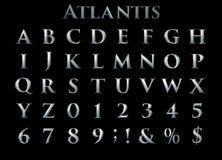 Αλφάβητο βαρύ μετάλλου ` Atlantis ` φαντασίας - τρισδιάστατη απεικόνιση διανυσματική απεικόνιση