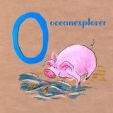 Αλφάβητο για τα παιδιά με το επάγγελμα χοίρων γράμμα ο Ωκεάνιος εξερευνητής ελεύθερη απεικόνιση δικαιώματος