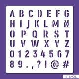 Αλφάβητο διάτρητων Αριθμοί, σύμβολα, σημεία στίξης απεικόνιση αποθεμάτων