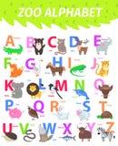Αλφάβητο ζωολογικών κήπων με το χαριτωμένο επίπεδο διάνυσμα κινούμενων σχεδίων ζώων απεικόνιση αποθεμάτων