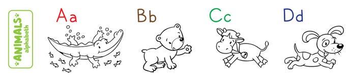 Αλφάβητο ζώων ή ABC γραφική απεικόνιση χρωματισμού βιβλίων ζωηρόχρωμη ελεύθερη απεικόνιση δικαιώματος