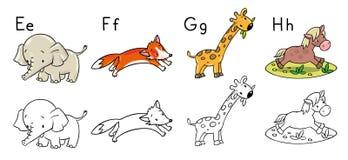 Αλφάβητο ζώων ή ABC γραφική απεικόνιση χρωματισμού βιβλίων ζωηρόχρωμη Στοκ Εικόνα