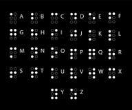 Αλφάβητο μπράιγ στα λατινικά Αλφάβητο για τον τυφλό Αφής σύστημα γραφής που χρησιμοποιείται από τους ανθρώπους που είναι τυφλοί ή διανυσματική απεικόνιση