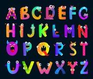 Αλφάβητο παιδιών με τις αστείες επιστολές τεράτων Διανυσματικοί χαριτωμένοι χαρακτήρες διανυσματική απεικόνιση