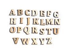Αλφάβητο που γίνεται από το ξύλο Στοκ Εικόνες