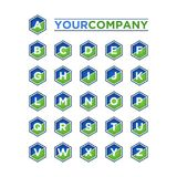 Αλφάβητο που τίθεται Hexagon Στοκ φωτογραφία με δικαίωμα ελεύθερης χρήσης