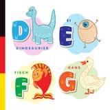 Αλφάβητο Deutsch Δεινόσαυρος, αυγό, ψάρια, χήνα Διανυσματικοί γράμματα και χαρακτήρες Στοκ Εικόνες