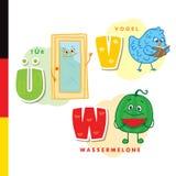 Αλφάβητο Deutsch Πόρτα, πουλί, καρπούζι Διανυσματικοί γράμματα και χαρακτήρες Στοκ φωτογραφία με δικαίωμα ελεύθερης χρήσης