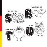 Αλφάβητο Deutsch Σαλιγκάρι, άσπρο ψωμί, ντομάτα, κουκουβάγια Διανυσματικοί γράμματα και χαρακτήρες Στοκ Εικόνες