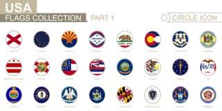 Αλφαβητικά ταξινομημένες σημαίες κύκλων των αμερικανικών κρατών Σύνολο στρογγυλών σημαιών διανυσματική απεικόνιση