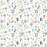 Αλφαβητικό διανυσματικό άνευ ραφής σχέδιο, abc ζωηρόχρωμο σχέδιο για το β Ελεύθερη απεικόνιση δικαιώματος