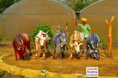 Αλώνισμα ρυζιού Μουσείο γλυπτών, Kaneri Math, Kolhapur, Maharashtra Στοκ εικόνες με δικαίωμα ελεύθερης χρήσης