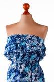 Αμάνικο μπλε floral φόρεμα Στοκ Εικόνες