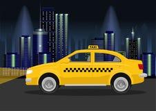 Αμάξι ταξί της πόλης νύχτας Στοκ Εικόνα