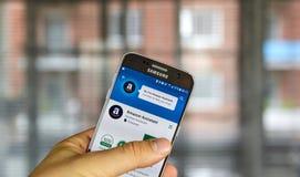 Αμαζόνιος app στη Samsung S7 Στοκ φωτογραφίες με δικαίωμα ελεύθερης χρήσης