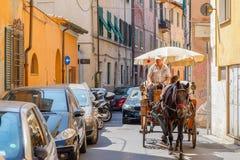 Αμαξάς που οδηγεί ένα συρμένο άλογο κάρρο σε μια στενή οδό πόλεων στο Π Στοκ Εικόνες