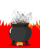 Αμαρτωλοί στο καζάνι στην κόλαση Οι σκελετοί είναι μαγειρευμένοι στη ρητίνη στα Η.Ε απεικόνιση αποθεμάτων