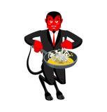 Αμαρτωλοί ψητών της Satan στο τηγάνι Σκελετοί στο βράζοντας πετρέλαιο καταχθόνιο τ ελεύθερη απεικόνιση δικαιώματος