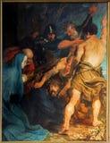 Αμβέρσα - το Carryng του σταυρού. Χρώμα από το μεγάλο μπαρόκ κύριο Anthony Van Dyck στην εκκλησία του ST Pauls (Paulskerk) Στοκ Εικόνες