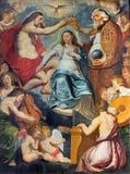 Αμβέρσα - Coronation της ζωγραφικής της Virgin Mary από Aernout Wickenborg από 17 σεντ στην εκκλησία του ST Pauls (Paulskerk), Στοκ Εικόνες