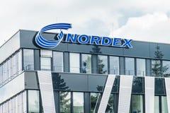 Αμβούργο, Γερμανία - 15 Ιουλίου 2017: Η έδρα Nordex βρίσκεται στην πόλη του Αμβούργο και προσφέρει ισχυρό Στοκ Φωτογραφίες