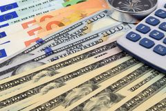 Αμερικανικά ευρο- νομίσματα στοκ φωτογραφίες