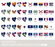 Αμερικανικά κράτη καθορισμένα, καρδιές και σημαίες, μέρος 1 διανυσματική απεικόνιση