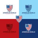 Αμερικανικά λογότυπο και εικονίδιο ασπίδων - διανυσματική απεικόνιση στοκ εικόνα